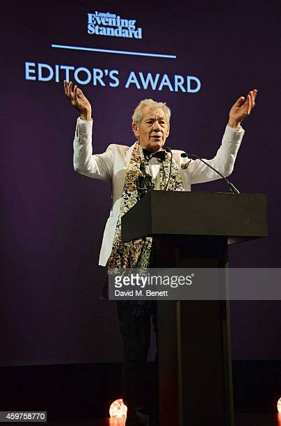 Sir Ian McKellen presents the Editor's Award at the 60th London Evening Standard Theatre Awards at the London Palladium on November 30 2014 in London...