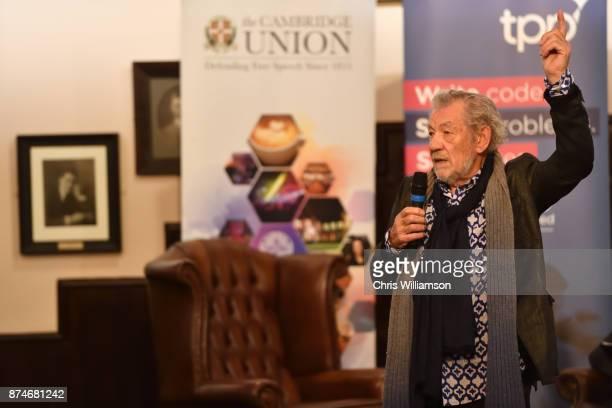 Sir Ian McKellen speaks at The Cambridge Union on November 15 2017 in Cambridge Cambridgeshire