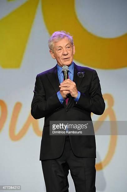 Sir Ian McKellen speaks on stage at TrevorLIVE New York honoring Sir Ian McKellen Representative Ryan Fecteau and Johnson Johnson for the Trevor...