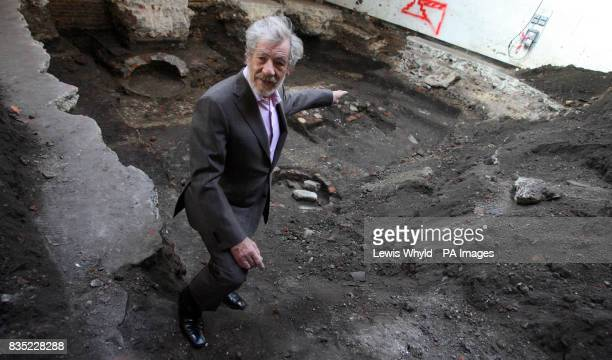 Sir Ian McKellen stands on the site of Shakespeare's first playhouse which has been uncovered by Museum of London archaeologists The location of the...