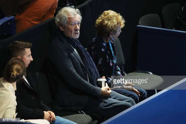 Sir Ian McKellen watches the Doubles Semi Final match between Ryan Harrison of the United States and Michael Venus of New Zealand and Marcelo Melo of...