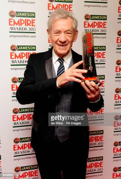 Sir Ian Mckellen with the Best Science Fiction Fantasy award for the Hobbit at the Empire Film Awards at the Grosvenor House Hotel in London