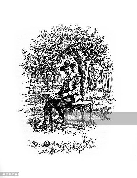 Sir Isaac Newton under the apple tree Newton under the apple tree where according to popular legend a falling apple prompted him to devise his theory...