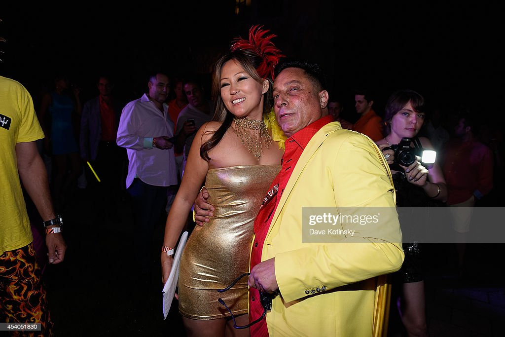Sir Ivan (R) and guest attend Sir Ivan's celebration of his new hit single 'Here Comes the Sun' at his castle in the Hamptons on August 23, 2014 in Water Mill, New York.