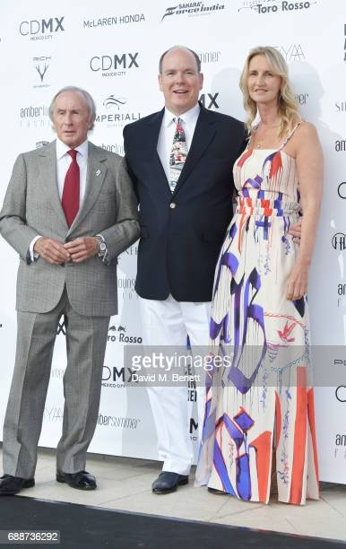 Sir Jackie Stewart Albert II Prince of Monaco and Sonia Irvine attend the Amber Lounge Fashion Monaco 2017 at Le Meridien Beach Plaza Hotel on May 26...