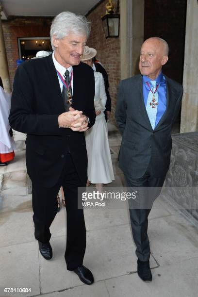 Sir James Dyson and Lord Foster of Thames Bank arrives at St James's Palace for a service for members of The Order of The Merit at St James's Palace...