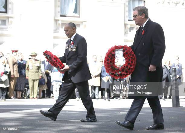 Sir Jerry Mateparae High Commissioner for New Zealand and Alexander Downer High Commissioner for Australia lay wreaths at the Cenotaph in London...