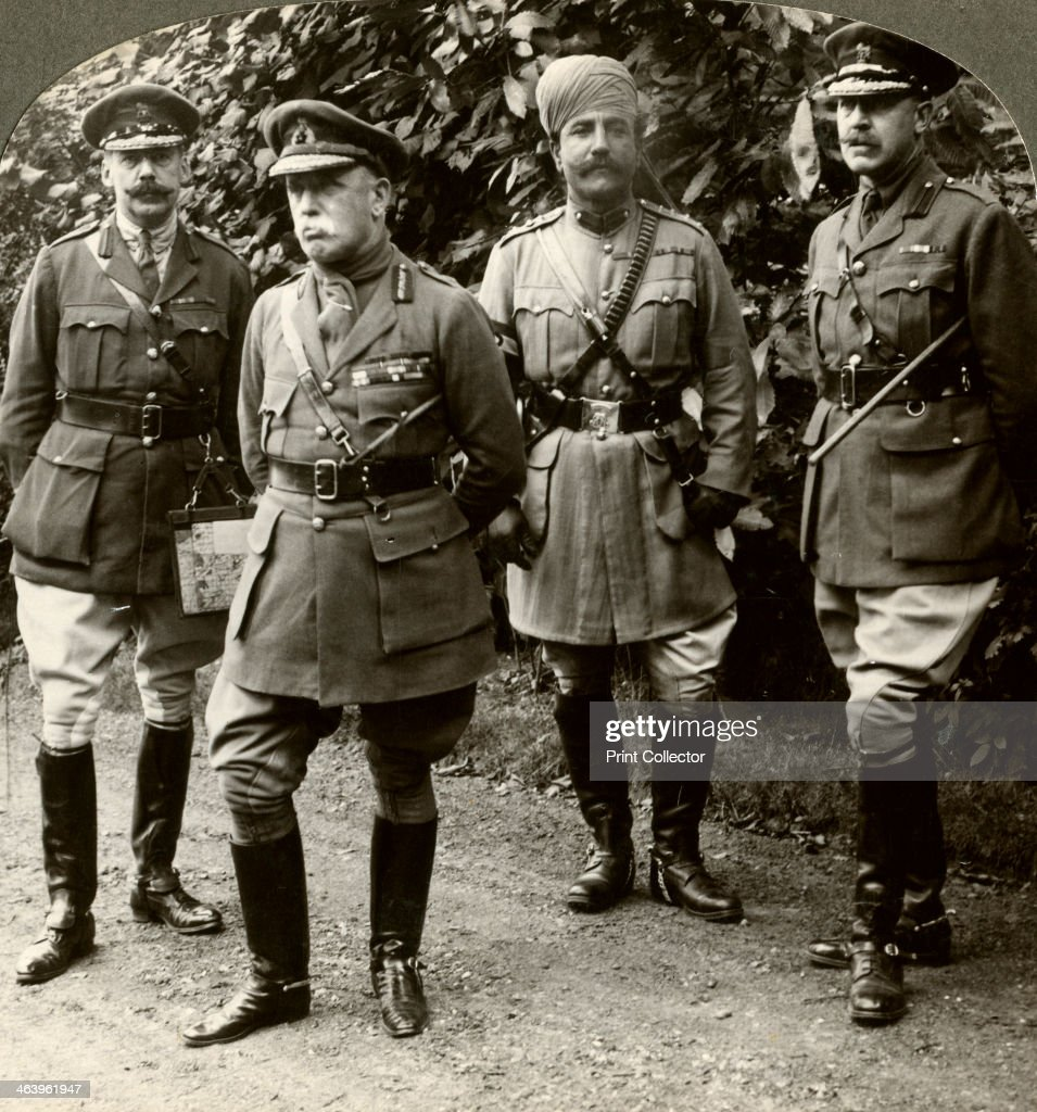 Sir John French, Commander-in-Chief of the BEF, France, World War I, 1914-1915. Field Marshal French (1852-1925) with aides-de-camp at headquarters. He was the first Commander-in-Chief of the British Expeditionary Force (BEF) in World War I. He was replaced by his deputy, General Douglas Haig, in 1915 and served as Commander of British Home Forces for the rest of the war. Stereoscopic card detail.