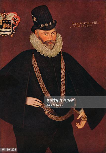 'Sir John Hawkins' 1591 Admiral Sir John Hawkins Painting held at the Plymouth City Council Museum and Art Gallery From The Connoisseur 1941 edited...