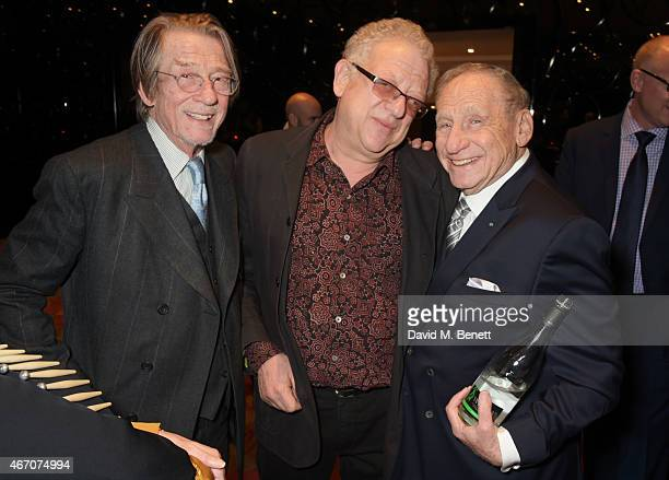 Sir John Hurt Jeremy Thomas and Mel Brooks attend the Mel Brooks BFI Fellowship Dinner at The May Fair Hotel on March 20 2015 in London England