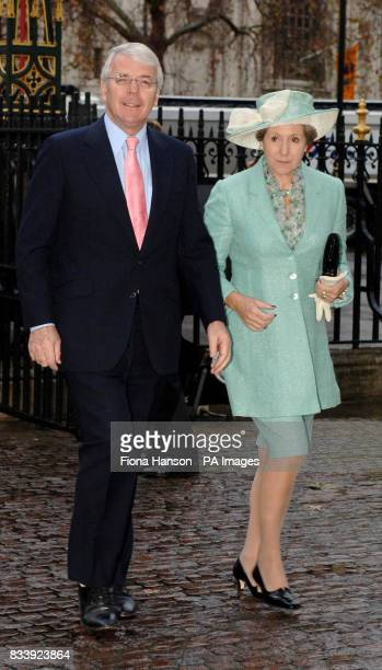 Sir John Major and Lady Major arrive at Westminster Abbey London for a service of celebration to mark the diamond wedding anniversary of Queen...