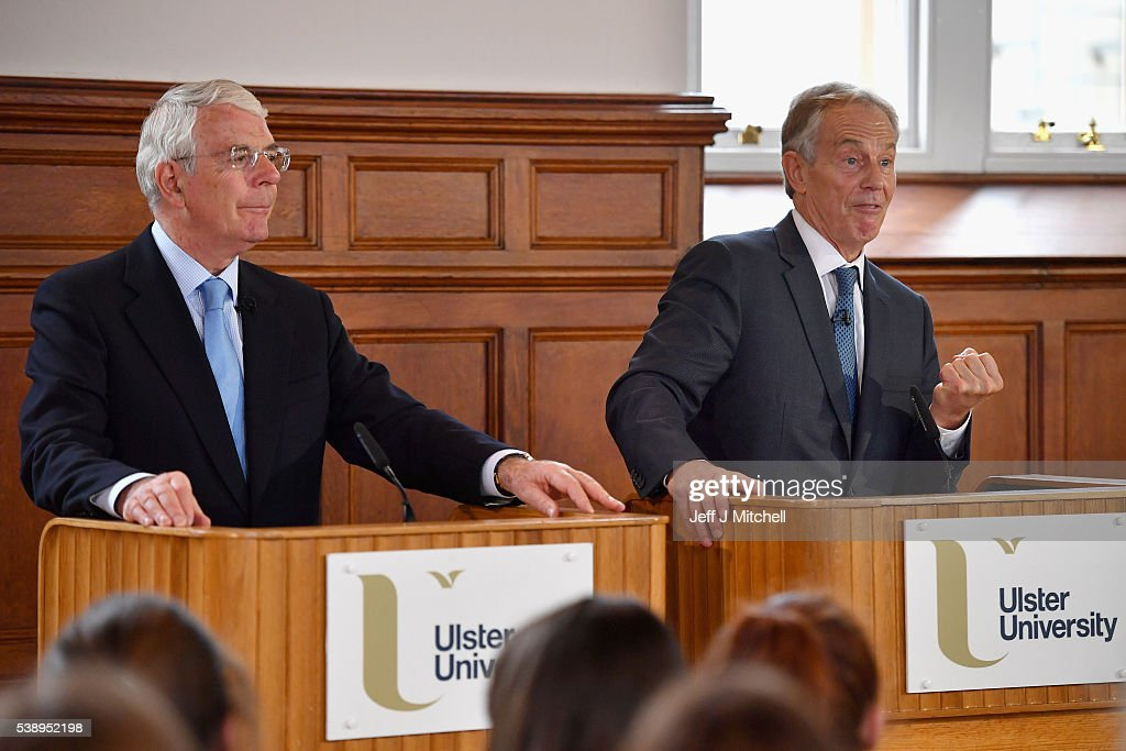 Sir John Major and Tony Blair attend a Remain campaign at the University of Ulster on June 9 2016 in Derry Northern Ireland Former British Prime...