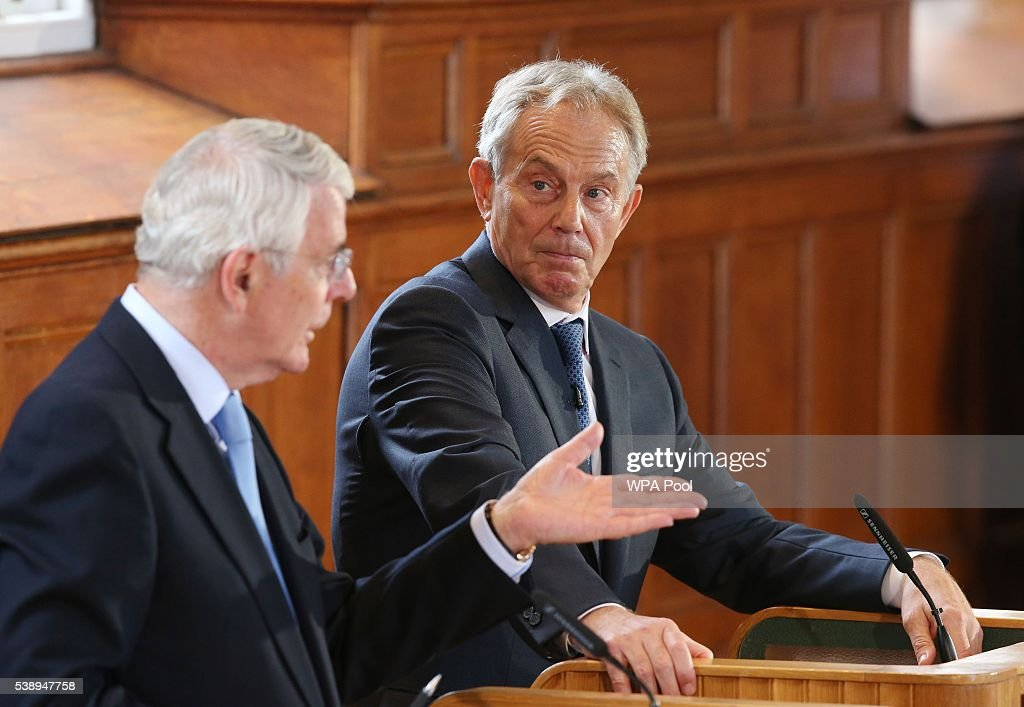 Sir John Major and Tony Blair share a platform as they attend a Remain campaign at the University of Ulster on June 9 2016 in Derry Northern Ireland...