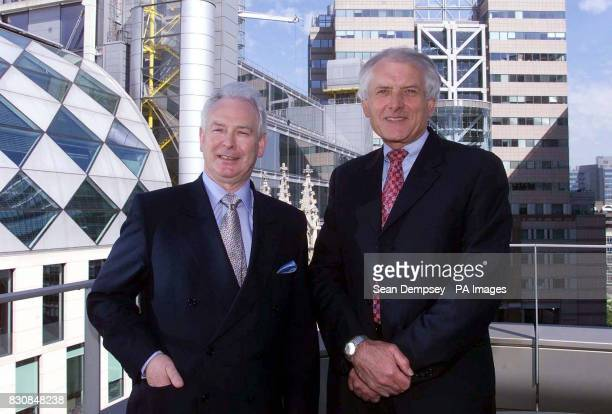 Sir John Parker Chairman and acting Chief Executive of Lattice left and Roger Urwin Chief Executive of National Grid following the announcement of a...