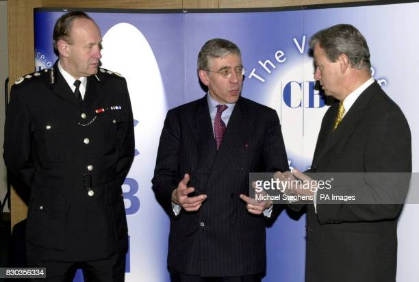 Sir John Stevens the Commissioner of the Metropolitan Police Home Secretary Jack Straw and Sir Clive Thompson CBI President at the headquarters of...
