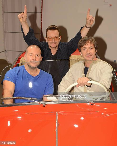 Sir Jonathan Ive Marc Newson and Bono hop into a unique red Fiat Jolly one of the 44 extraordinary items to be sold at the Auction this Saturday 23rd...