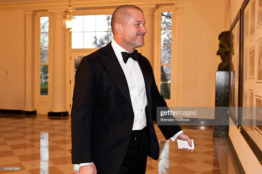 Sir Jony Ive, senior vice president at Apple, arrives for a State Dinner in honor of British Prime Minister David Cameron at the White House on March 14, 2012 in Washington, DC. Cameron is on a three day official visit to Washington.