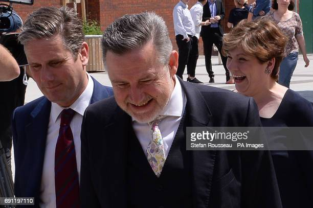 Sir Keir Starmer Barry Gardiner and Shadow Foreign secretary Emily Thornberry arrive to listen to Labour leader Jeremy Corbyn deliver a speech on...