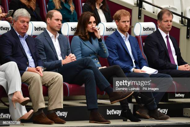 Sir Keith Mills chairman of the Royal Foundation sits with the Duke and Duchess of Cambridge and Prince Harry at West Ham UnitedOtildes London...