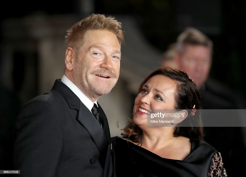 Sir Kenneth Branagh and Lindsay Brunnock attend the 'Murder On The Orient Express' World Premiere at Royal Albert Hall on November 2, 2017 in London, England.