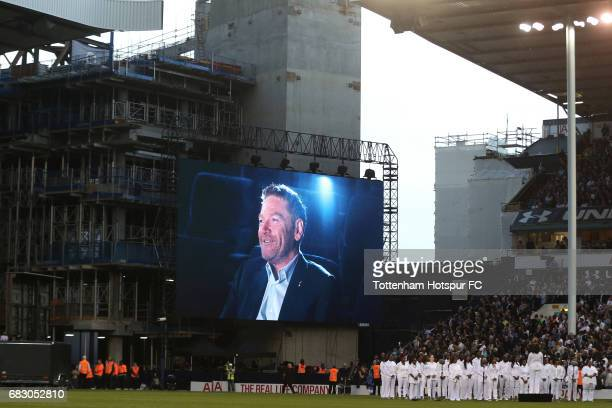 Sir Kenneth Branagh speaks on the LED screen during the closing cereony after the Premier League match between Tottenham Hotspur and Manchester...