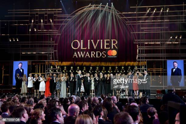 Sir Kenneth Branagh with his Special Award on stage during The Olivier Awards 2017 at Royal Albert Hall on April 9 2017 in London England