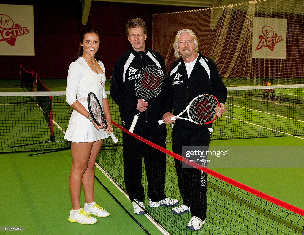 Sir <a gi-track='captionPersonalityLinkClicked' href=/galleries/search?phrase=Laura+Robson&family=editorial&specificpeople=5421044 ng-click='$event.stopPropagation()'>Laura Robson</a>, <a gi-track='captionPersonalityLinkClicked' href=/galleries/search?phrase=Andrew+Castle&family=editorial&specificpeople=614066 ng-click='$event.stopPropagation()'>Andrew Castle</a> and <a gi-track='captionPersonalityLinkClicked' href=/galleries/search?phrase=Richard+Branson&family=editorial&specificpeople=220198 ng-click='$event.stopPropagation()'>Richard Branson</a> attend a photocall as <a gi-track='captionPersonalityLinkClicked' href=/galleries/search?phrase=Laura+Robson&family=editorial&specificpeople=5421044 ng-click='$event.stopPropagation()'>Laura Robson</a> is announced as the face of Virgin Active on February 26, 2013 in Chiswick, England.