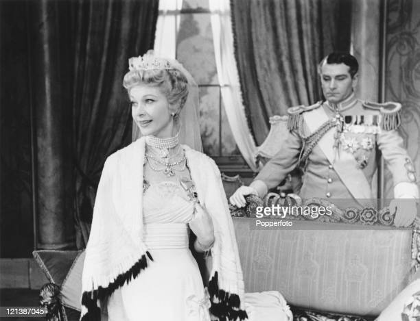 Sir Laurence Olivier and his wife actress Vivien Leigh in the play 'The Sleeping Prince' at the Phoenix Theatre in London 1953 Written by Terence...