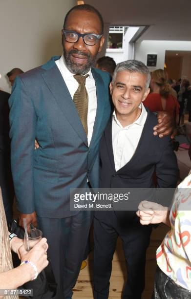 Sir Lenny Henry and Mayor of London Sadiq Khan attend the Mayor of London's Summer Culture Reception on July 18 2017 in London England