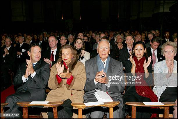 Sir Lindsay Owen Jones Andre Bettencourt and wife Madame Owen Jones and Madame Francoise Riviere at the Gala Evening In Aid Of L'Association Le Pont...