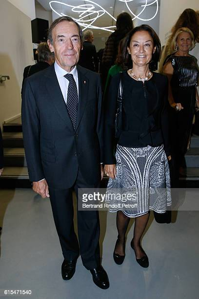 Sir Lindsay OwenJones and his wife Lady Cristina attend the Societe des Amis du Musee d'Art Moderne Dinner Party at the Musee d'Art Moderne on...