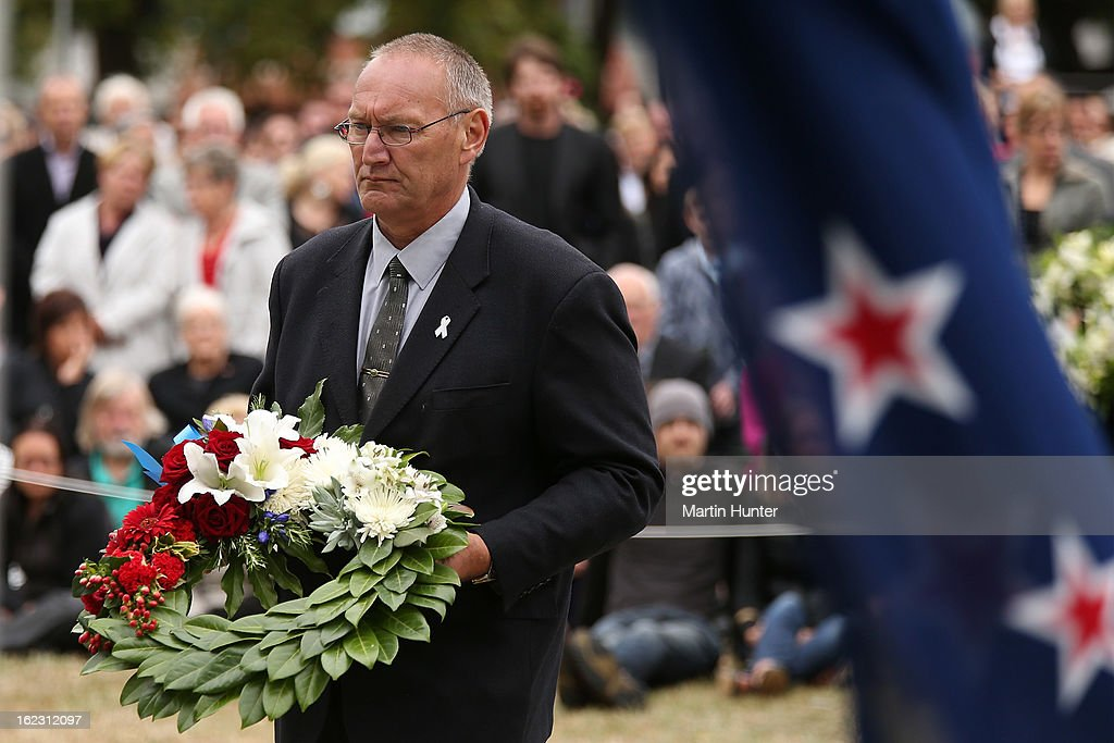 Sir Mark Soloman lays a wreath during the memorial service marking the second anniversary of the Christchurch Earthquakes on February 22, 2013 in Christchurch, New Zealand. On February 22nd, 2011 a 6.3 magnitude earthquake hit Christchurch which along with several after shocks killed 185 people.