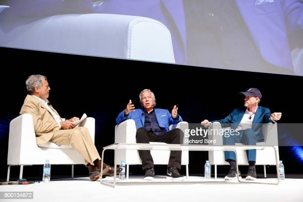 Sir Martin Sorrell Robert Kraft and Ron Howard speak during the Cannes Lions Festival 2017 on June 23 2017 in Cannes France