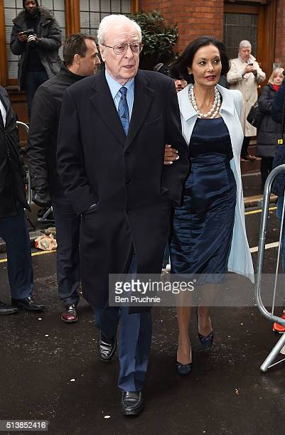 Sir Michael Caine and his wife Shakira Caine arrive for the wedding of Jerry Hall to Rupert Murdoch at St Brides Church Fleet Street on March 5 2016...