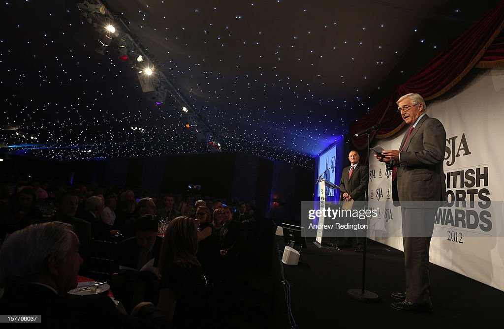Sir <a gi-track='captionPersonalityLinkClicked' href=/galleries/search?phrase=Michael+Parkinson&family=editorial&specificpeople=159753 ng-click='$event.stopPropagation()'>Michael Parkinson</a> addresses the room during the SJA 2012 British Sports Awards at The Pavilion at the Tower of London on December 6, 2012 in London, England.