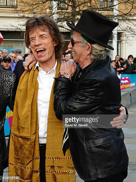 Sir Mick Jagger and Keith Richards of The Rolling Stones attend a private view of 'The Rolling Stones Exhibitionism' at The Saatchi Gallery on April...