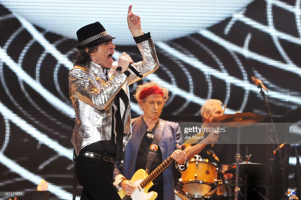 Sir Mick Jagger and Keith Richards of The Rolling Stones perform live on stage, during their 50th anniversary tour at O2 Arena on November 29, 2012 in London, England.