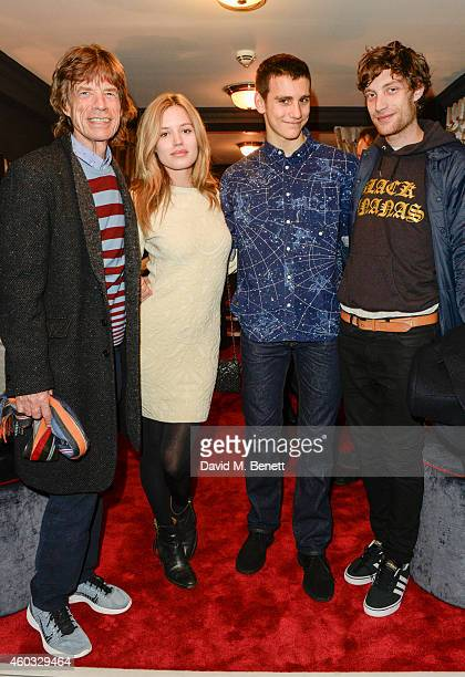 Sir Mick Jagger Georgia May Jagger Gabriel Jagger and James Jagger attend the press night performance of 'Snow White And The Seven Dwarfs' at the...