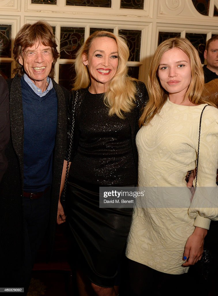 Sir Mick Jagger Jerry Hall and Georgia May Jagger attend the press night performance of 'Snow White And The Seven Dwarfs' at the Richmond Theatre on...