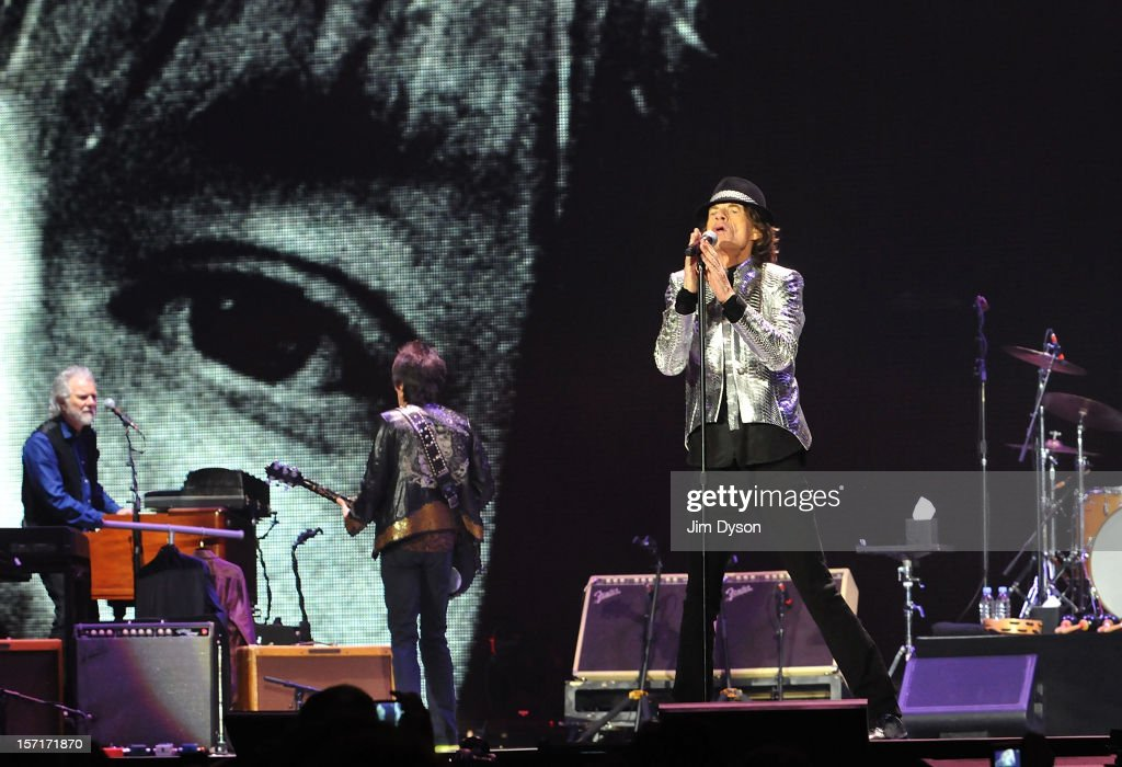 Sir Mick Jagger of The Rolling Stones performs live on stage, during their 50th anniversary tour at O2 Arena on November 29, 2012 in London, England.