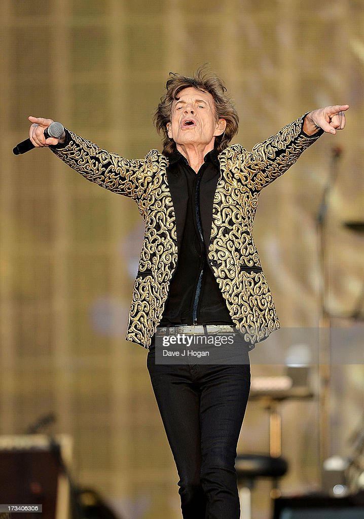 Sir <a gi-track='captionPersonalityLinkClicked' href=/galleries/search?phrase=Mick+Jagger&family=editorial&specificpeople=201786 ng-click='$event.stopPropagation()'>Mick Jagger</a> of The Rolling Stones performs on stage during a headline performance as part of Barclaycard Present British Summer Time Hyde Park on July 13, 2013 in London, England.