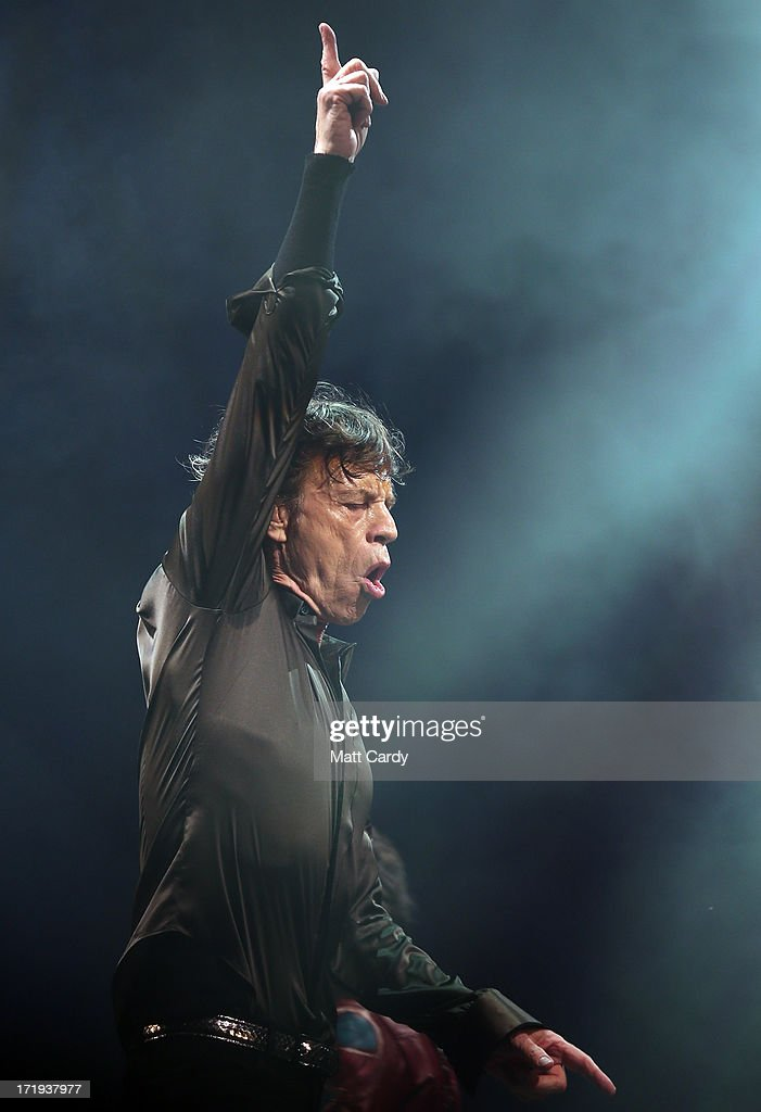 Sir Mick Jagger of The Rolling Stones performs on the Pyramid Stage at Glastonbury Festival 2013 on June 29, 2013 in Glastonbury, England. at the Glastonbury Festival of Contemporary Performing Arts site at Worthy Farm, Pilton on June 29, 2013 near Glastonbury, England. The wholesale market caters for traders throughout the Festival who are estimated to provide 3 million meals for festival-goers, crew and performers. Gates opened on Wednesday at the Somerset diary farm that will be playing host to one of the largest music festivals in the world and this year features headline acts Artic Monkeys, Mumford and Sons and the Rolling Stones. Tickets to the event which is now in its 43rd year sold out in minutes and that was before any of the headline acts had been confirmed. The festival, which started in 1970 when several hundred hippies paid 1 GBP to watch Marc Bolan, now attracts more than 175,000 people over five days.