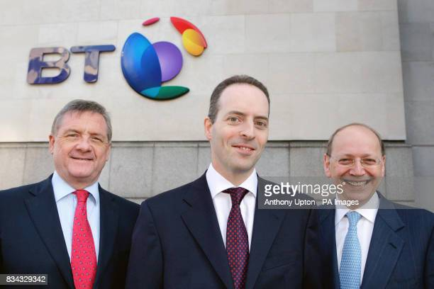Sir Mike Rake Ian Livingston and Ben Verwaayen stand outside the BT Centre in London after it was announced today that chief executive Ben Verwaayen...