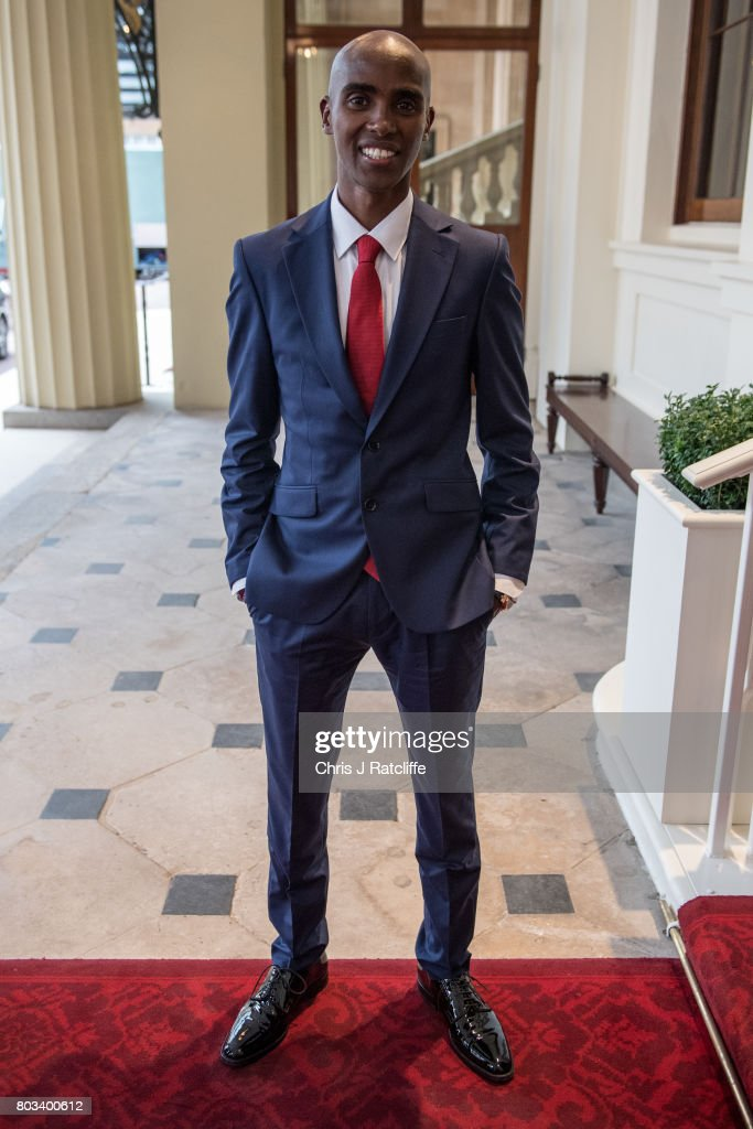 Sir Mo Farah attends the 2017 Queen's Young Leaders Awards Ceremony at Buckingham Palace on June 29, 2017 in London, England.