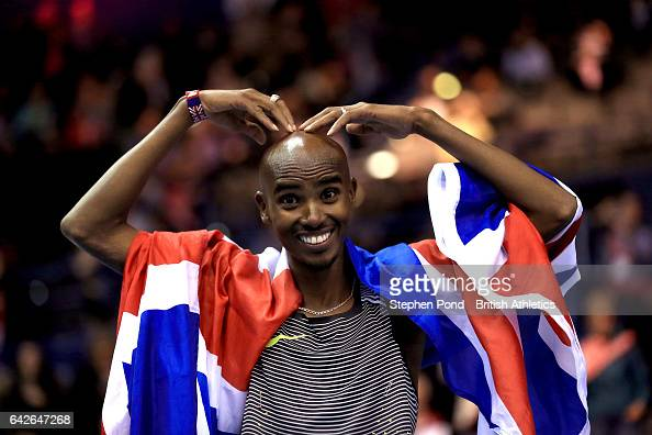 Sir Mo Farah celebrates winning the mens 5000m during the Muller Indoor Grand Prix 2017 at the Barclaycard Arena on February 18 2017 in Birmingham...