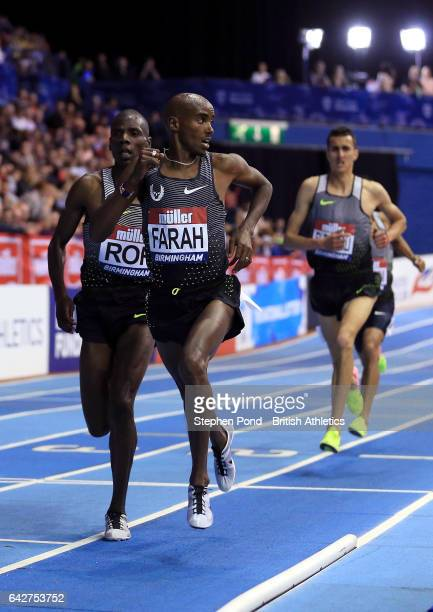 Sir Mo Farah in action in the mens 5000m during the Muller Indoor Grand Prix 2017 at the Barclaycard Arena on February 18 2017 in Birmingham England
