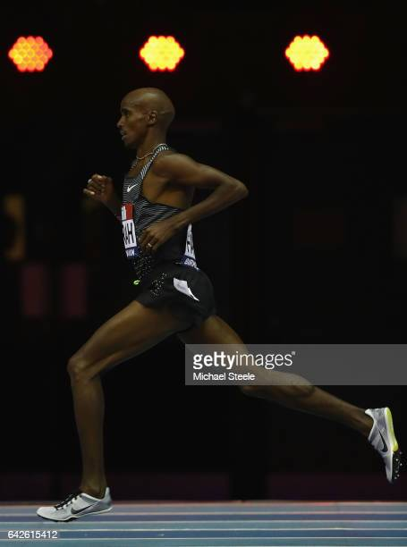 Sir Mo Farah on his way to victory in the men's 5000m during the Muller Indoor Grand Prix at the Barclaycard Arena on February 18 2017 in Birmingham...