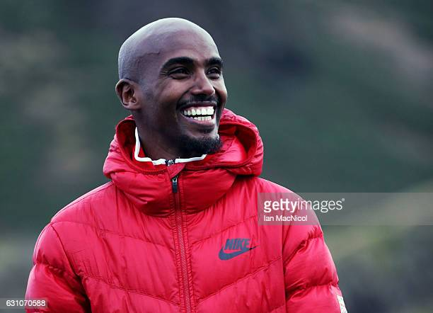 Sir Mo Farah poses for photographs in Holyrood Park prior to tomorrow's Great Edinburgh X Country on January 6 2017 in Edinburgh Scotland