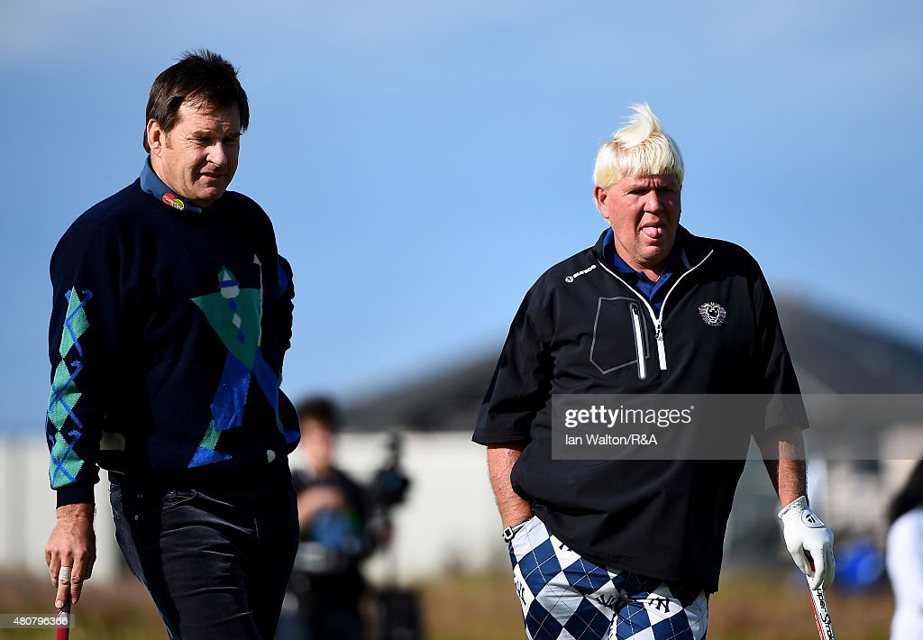 Sir <a gi-track='captionPersonalityLinkClicked' href=/galleries/search?phrase=Nick+Faldo&family=editorial&specificpeople=171119 ng-click='$event.stopPropagation()'>Nick Faldo</a> of England and <a gi-track='captionPersonalityLinkClicked' href=/galleries/search?phrase=John+Daly+-+Golfer&family=editorial&specificpeople=4350901 ng-click='$event.stopPropagation()'>John Daly</a> of the United States look on during the Champion Golfers' Challenge ahead of the 144th Open Championship at The Old Course on July 15, 2015 in St Andrews, Scotland.