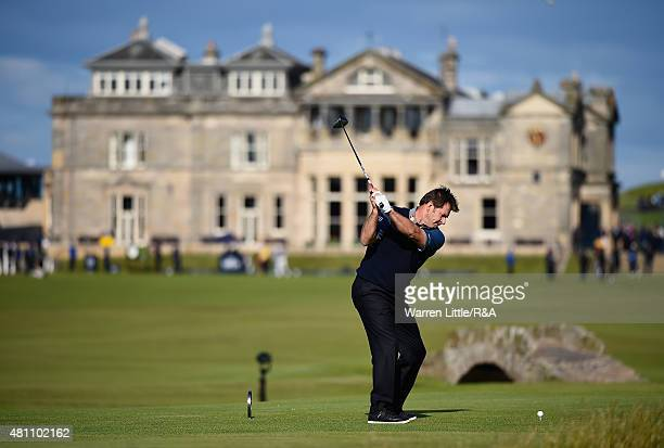 Sir Nick Faldo of England hits his tee shot on the 18th hole uring the second round of the 144th Open Championship at The Old Course on July 17 2015...